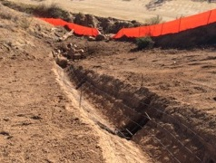 Rebar is in the trench.