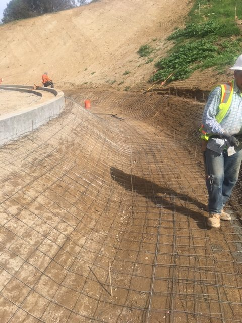 This is a picture of what it looks like under your Vditch when rebar is used for reinforcement.